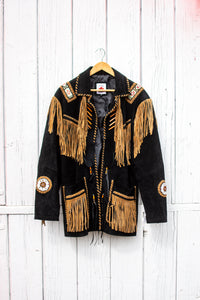 Beaded Leather Fringe Jacket