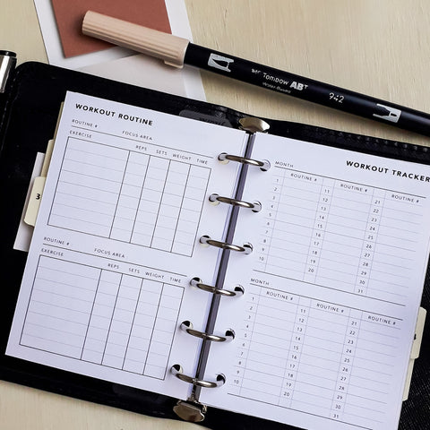 Printable Workout Routine Planner and Tracker in Pocket Size