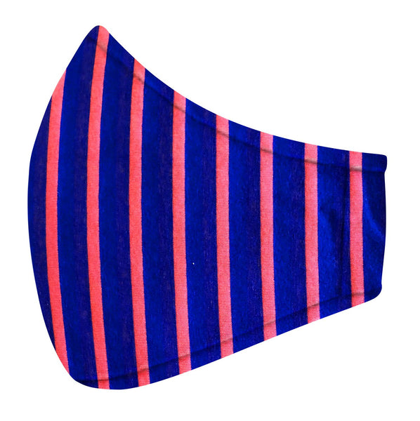 Navy & Coral Stripe Jersey Mask