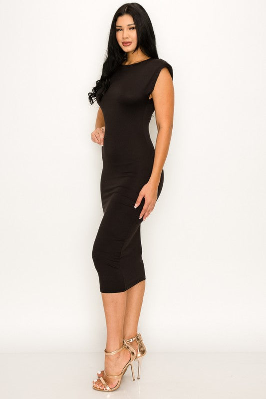 Black Padded Shoulder Dress