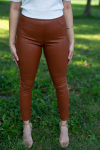 Half and Half Brown Faux Leather Pants