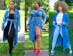 Load image into Gallery viewer, DENIM TRENCH COAT / LONG JACKET