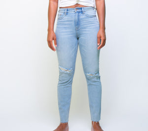 Calvin Klein High Rise Jeans With Cut Hem (only a few left in stock)
