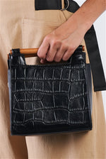 Load image into Gallery viewer, Black Vegan Alligator Leather Mini Handbag With Bamboo Trim - Zenassidy