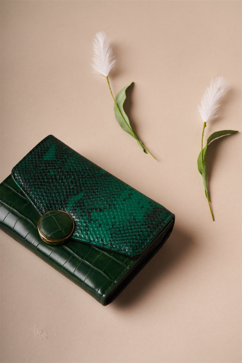 Deep Green Snake Python Three Way Wallet - Zenassidy