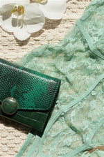 Load image into Gallery viewer, Deep Green Snake Python Three Way Wallet - Zenassidy
