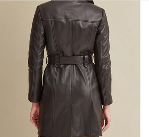 Double-Breasted Belted Genuine Leather Trench Coat