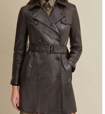 Load image into Gallery viewer, Double-Breasted Belted Genuine Leather Trench Coat