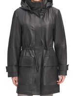 Load image into Gallery viewer, Vintage Hooded Leather Anorak
