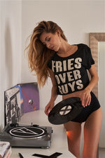 "Load image into Gallery viewer, ""FRIES OVER GUYS"" Graphic Stud Detail Crop Top - Zenassidy"