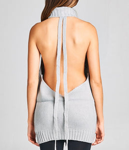 Cut-Out Back Knitted Sweater