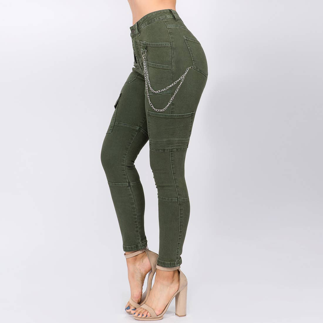 HIGH WAIST SKINNY PANTS WITH CHAINS