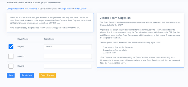 Assign Team Captain Page
