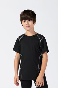Youth Boys Sports Active Workout Short Sleeve Tech T-Shirts Performance Crew Neck Top