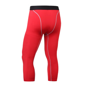 Mens 3/4 Compression Leggings Capri Running Tights Football Pants Yoga Gym Baselayer for Workout Training