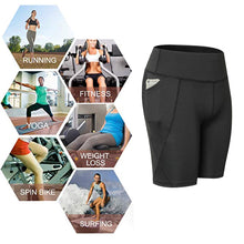Load image into Gallery viewer, Womens Compression Running Leggings Athletic Yoga Shorts with Pockets