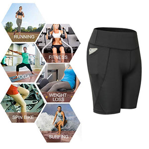 Womens Compression Running Leggings Athletic Yoga Shorts with Pockets