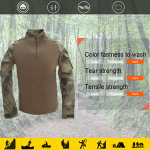 Combat Shirt for Men Woodland Tactical Shirt Military Army Airsoft Hunting T-Shirts