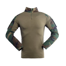 Load image into Gallery viewer, Combat Shirt for Men Woodland Tactical Shirt Military Army Airsoft Hunting T-Shirts