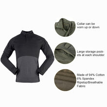 Load image into Gallery viewer, Mens Tactical Shirts Camo Military Camouflage Shirt 1/4 Zip Long Sleeve Outdoor T-Shirt for Paintball Hunting