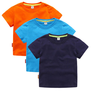 Kids 100% Cotton Casual Plain T-Shirt Comfort Soft Breathable Tee Tops