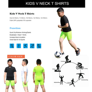 Kids Short Sleeve Base Layer Tops Compression Workout T-Shirts 3 Pack