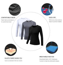 Load image into Gallery viewer, 3 Packs Women's Long Sleeve Shirts Dry Fit Compression Baselayer Tops for Sports Yoga