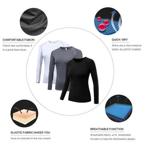 3 Packs Women's Long Sleeve Shirts Dry Fit Compression Baselayer Tops for Sports Yoga