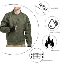 Load image into Gallery viewer, Men Flight Bomber Jacket Windbreaker Casual Baseball Heavy Coat