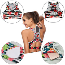 Load image into Gallery viewer, Women Sports Bra Racer Back Pocket Floral Padded Crop Top for Yoga