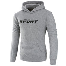 Cargar imagen en el visor de la galería, Mens Athletic Logo Hooded Sweatshirt Long Sleeve Outerwear with Pocket
