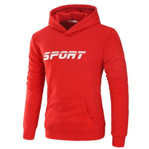 Mens Athletic Logo Hooded Sweatshirt Long Sleeve Outerwear with Pocket