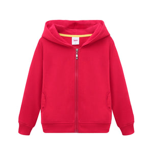 Kids Zip Up Hooded Sweatshirt Boys Girls Plain Hoodie Age 5-14 Years