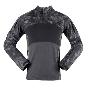 Mens Tactical Shirts Camo Military Camouflage Shirt 1/4 Zip Long Sleeve Outdoor T-Shirt for Paintball Hunting