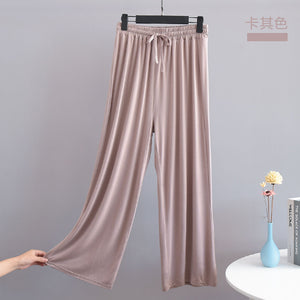 Womens Casual Wide Leg Pajama Bottoms Elastic Waist Straight Pants