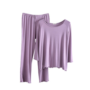 Womens Casual Comfy Pajama Sets Modal Loose Fit Long Sleeve Shirts and Pants Capris Loungewear Sleepwear