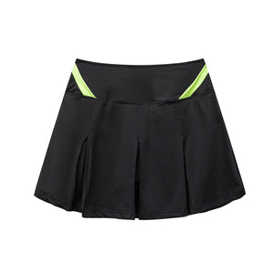Black Athletic Skort for Women Pleated Active Skirt with Shorts&Pocket