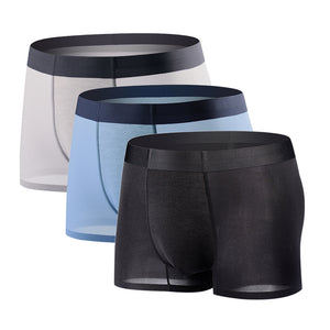 Mens Boxer Briefs Ice silk Breathable Underwear Low Rise Trunks 3 Pack