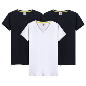 Mens V-Neck Short Sleeve T Shirts 100% Cotton Tee Top