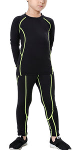 Boys & Girls Long Sleeve Compression Shirts and Pant 2 Pcs Set