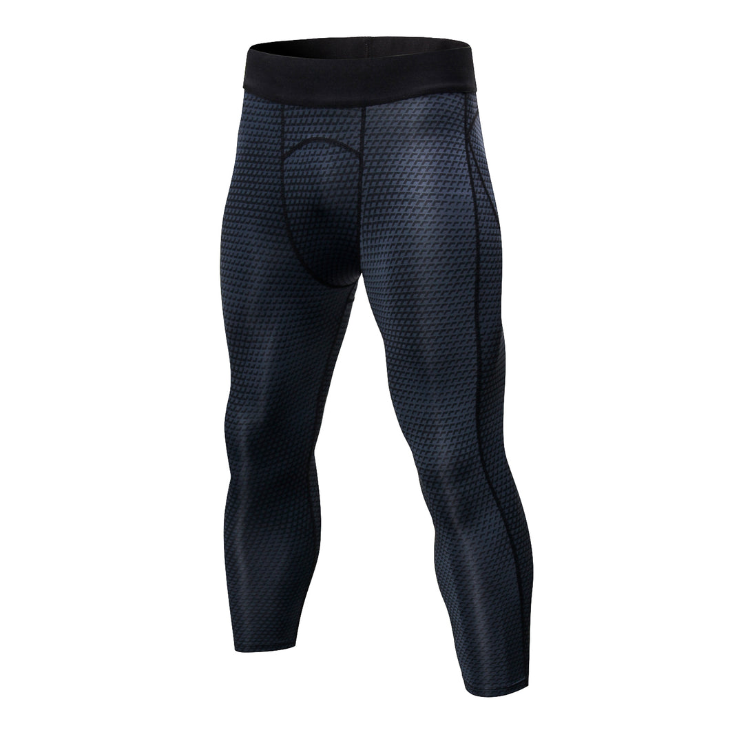 Mens 3/4 Cool Dry Compression Pants Running 3D Snake Skin Printed Tights Gym Leggings