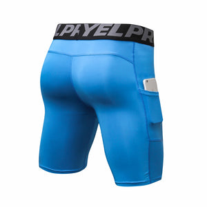 Mens Athletic Compression Shorts with Pocket Quick Dry Running Underwear