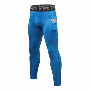 Mens Compression Pants with Pockets Quick Dry Running Tights Workout Leggings