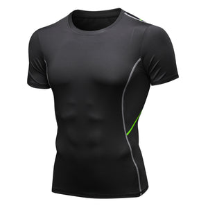 Mens Short Sleeve Compression Workout T-shirt Cool Dry Baselayer Athletic Sports Shirts Active Tops Gym Fitness Shirt