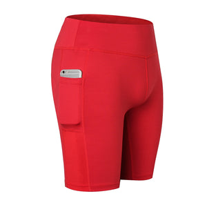 Womens High Waist Workout Shorts with Pockets Yoga Running Compression Shorts