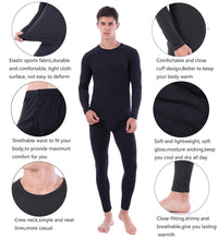 Carregar imagem no visualizador da galeria, Mens Thermal Underwear Set Soft Long Johns Crew Neck Tops & Bottoms