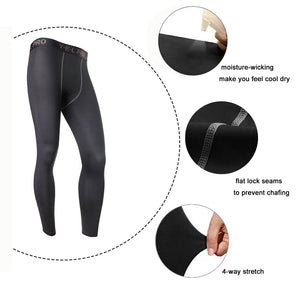 LANBAOSI Men's Running Sport Leggings Compression Base Layer Pants Tights