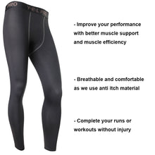 Cargar imagen en el visor de la galería, LANBAOSI Men's Running Sport Leggings Compression Base Layer Pants Tights