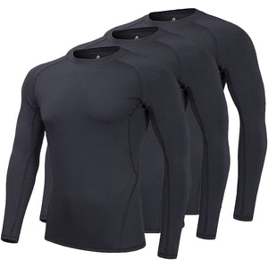 Kids Compression Shirts Fleece Lined, Thermal Long Sleeve Top T Shirts