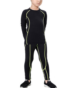 Boys Thermal Set Fleece Lined Compression Shirts & Pants Long Johns